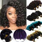 22″ 80g Crochet Bulk Hair Weft Deep Wave Synthetic Hair Extension Crochet Braids