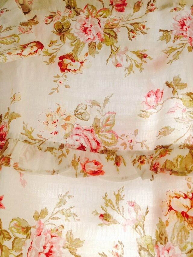 Ashley Shower Curtain Floral Pink Roses Sage Shabby Chic French Country Nwt New Floral Shabby