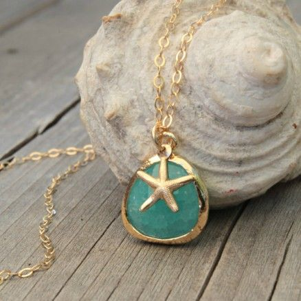 Talisman Jewelry Mint Glass Starfish 14K Gold Necklace $55.00 #accessories #fashion #thebellacottage