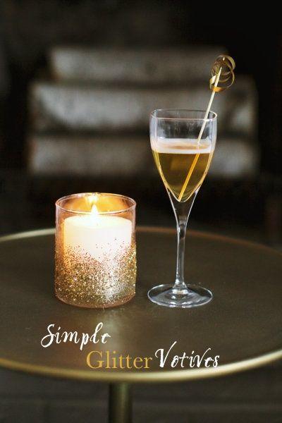 DIY Glitter Votives for easy Halloween decor   look great in both gold or black glitter!