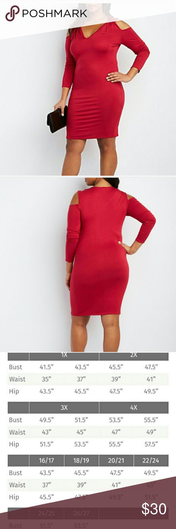 Plus Size Bodycon Dress Super soft knit sculpts a beautiful bodycon dress with extra flair ! Ruched shoulder seams top overlapping cut - out straps, between that coveted cold shoulder style ! Long sleeves and a v- neckline complete the look. Dresses Mini