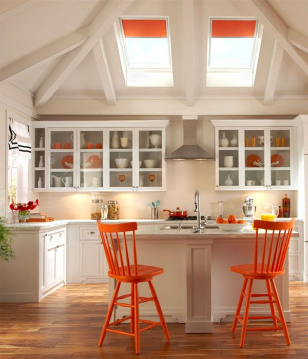 orange kitchen accents   paint my table legs orange and stain the table top dark with orange fabric on the chairs
