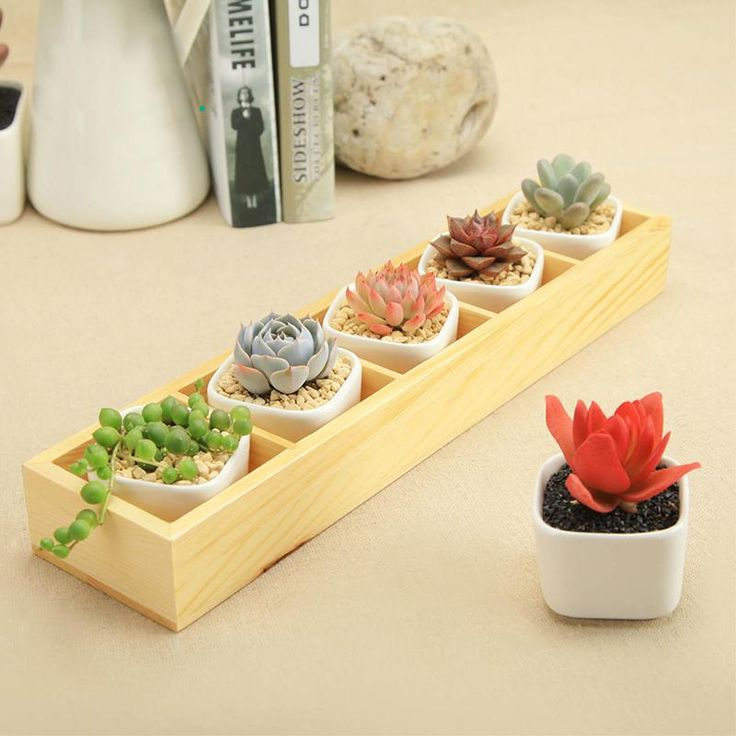 1 Set of 5 Charming Square Ceramic Pots with Tray Box