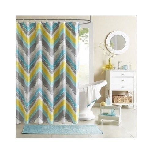 Chevron Shower Curtain Teal Blue Grey Bathroom Accessory Bath Zigzag Curtains