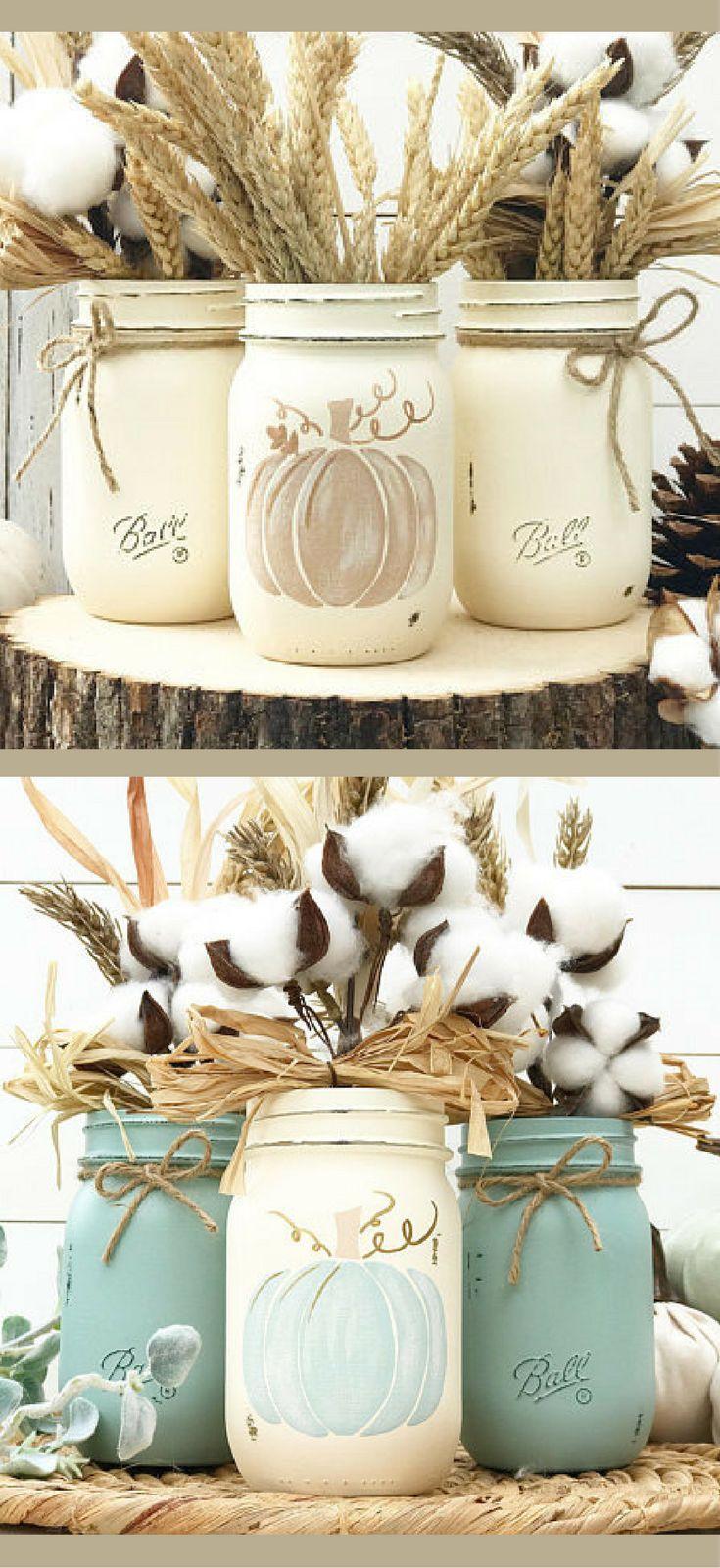 Set of 3 pumpkin Mason Jars, aqua blue or natural colors, Blue fall decor, Pumpkin Trio, Autumn Decor, Home Decor, Fall Decor, Centerpiece, Fall Wedding, Farmhouse Thanksgiving, Fall, Shabby Chic, Blue Pumpkin decor #affiliatelink #ad