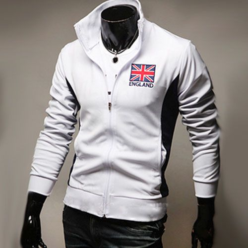 Veste Jogging Homme Fashion Casual Coupe du monde Jacket Sport Angleterre Blanc