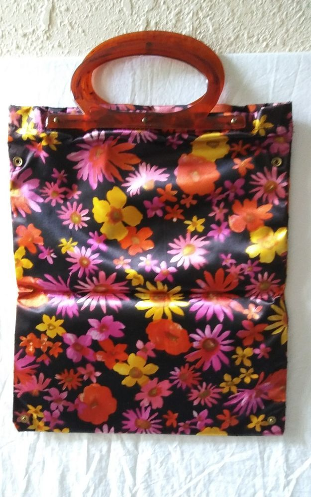Mcm Vinyl Flower Power Purse Handbag Tote Acrylic Celluoid Handle Hong Kong Merco Totes Handbags Purses Purses And Handbags Tote Handbags Handbag