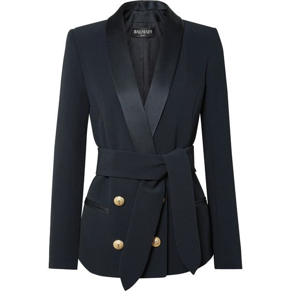 Balmain Belted double-breasted crepe blazer (€2.050) via Polyvore featuring outerwear, jackets, blazers, midnight blue, double breasted tuxedo jacket, embellished jackets, tuxedo jackets, tailored tuxedo und crepe blazer