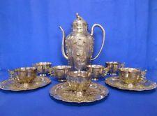 Antique China Straits Chinese Export Silver Teapot Set Peranakan Ware