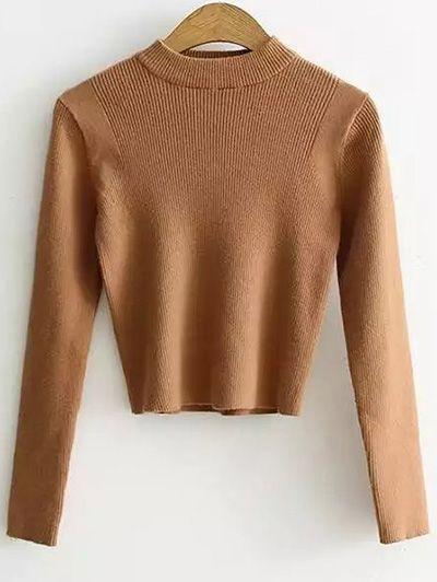 Mock Neck Long Sleeve Cropped Sweater