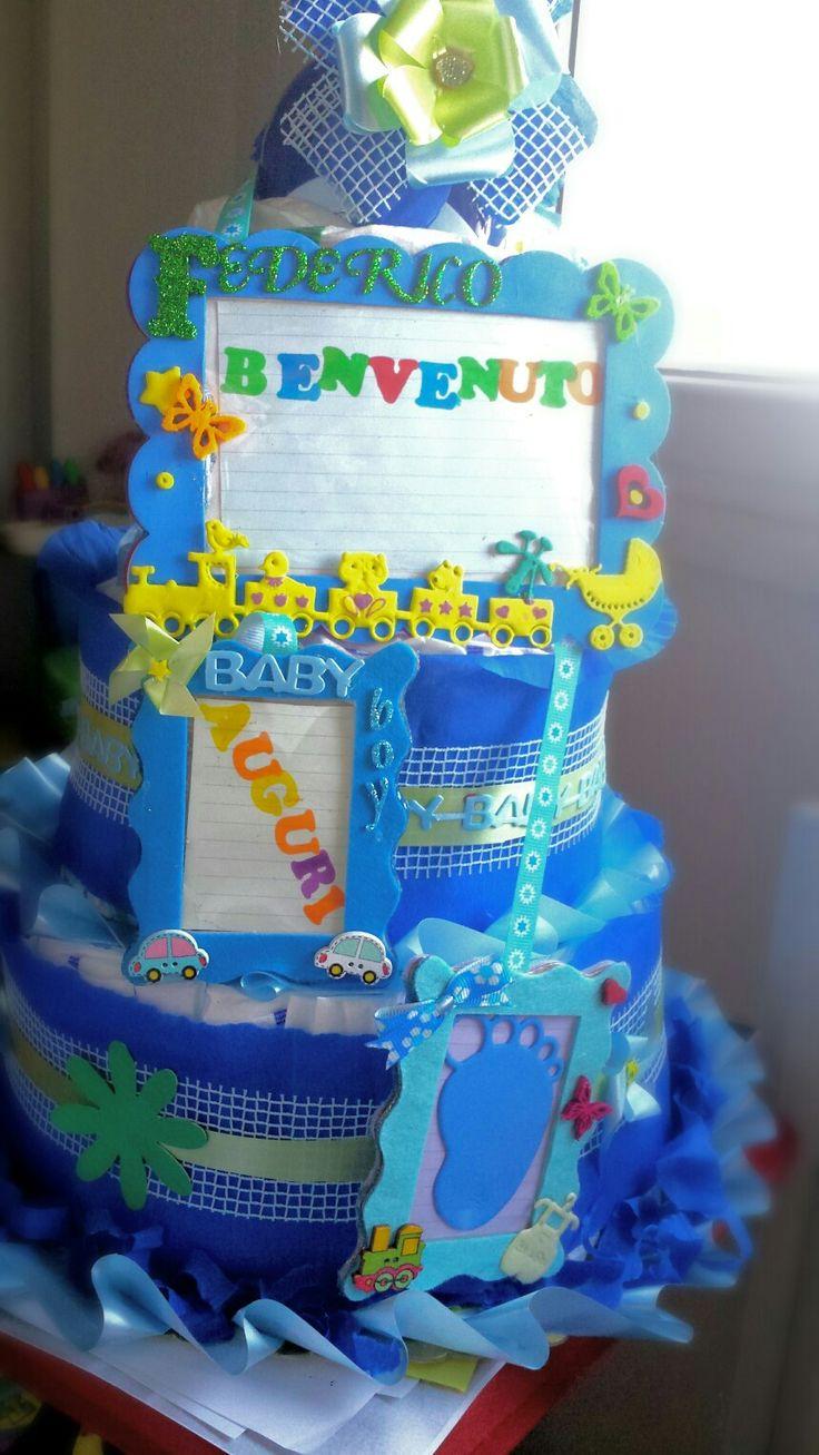 torta di pannolini con portafoto personalizzata in gomma crepla #moosfommy #crepla #eva