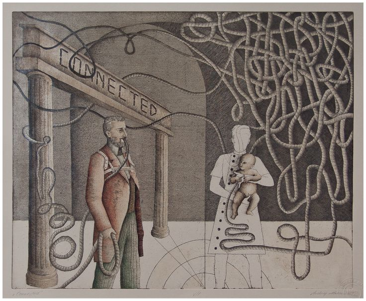 Andrzej Mazur-Connected-hand coloured etching