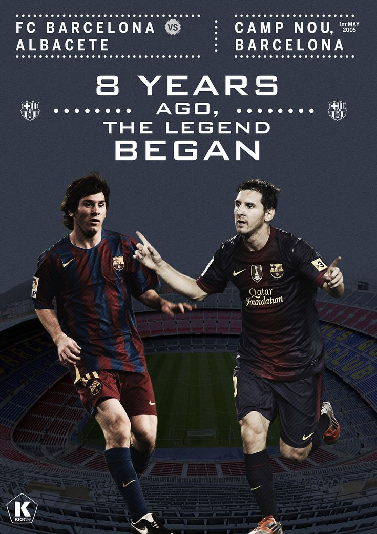 May 1, 2005. Messi scores his first goal for FC Barcelona's first team. The rest is history. [art by Luke Barclay]
