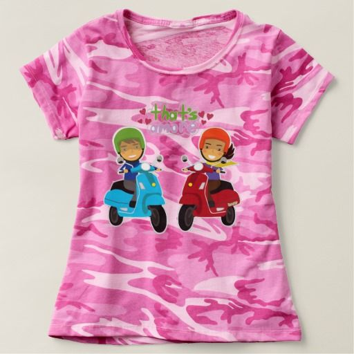 Camouflage pink military with two vespa lovers