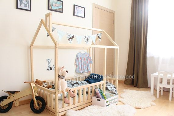 Twin size baby bed with fence, children bed, montessori wooden house, nursery interior crib, toddler bedroom design, girl room
