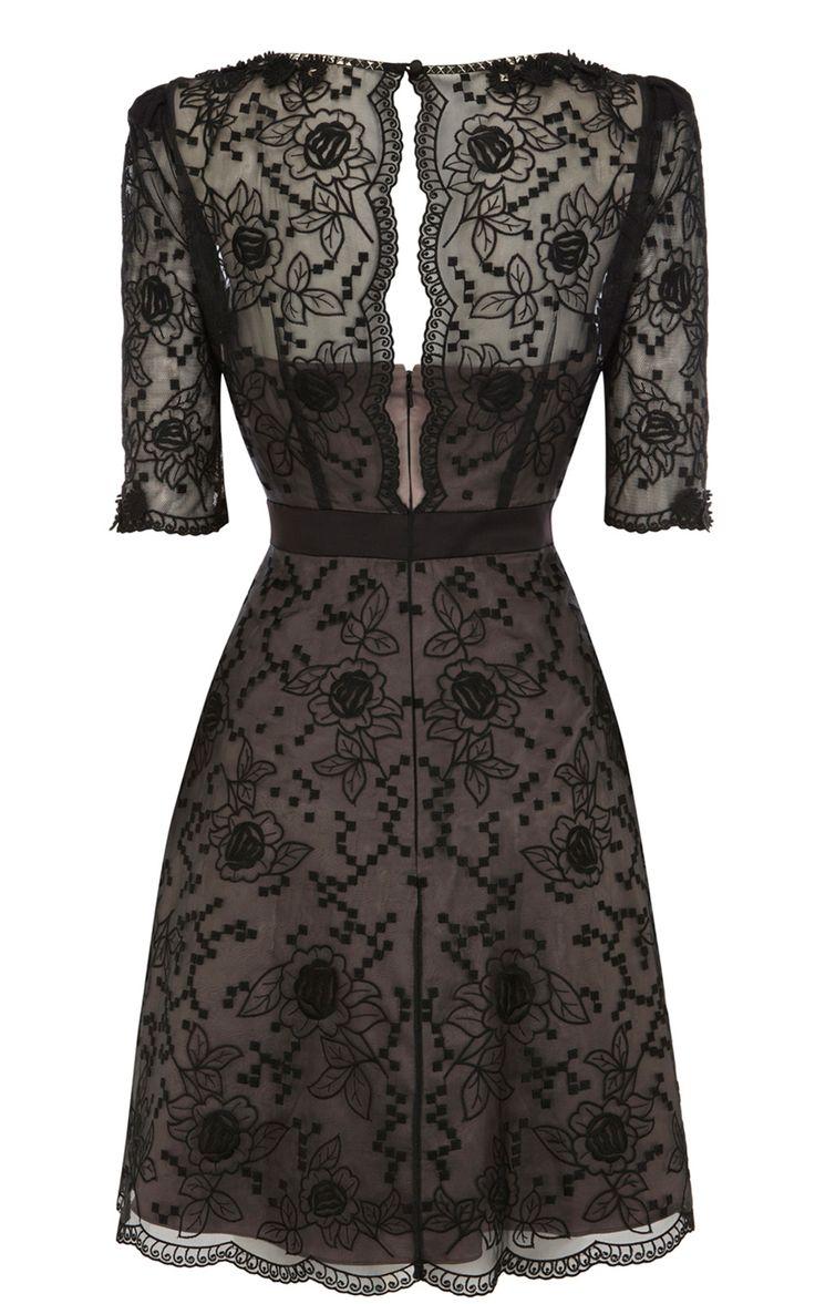 Latest karen millen dp d lace embroidery dress black