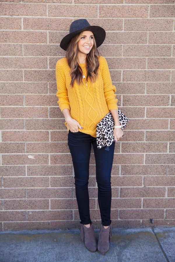 mustard sweater, fringe boots, Hudson jeans