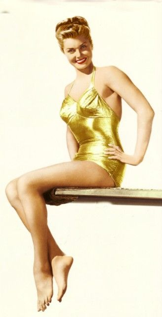 6/6/13 Rest in Peace Ester Williams. Here she is wearing her famous gold lame swimsuit.