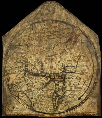 Hereford Mappa Mundi - Wikipedia, the free encyclopedia. The Hereford Mappa Mundi is a mappa mundi, of a form deriving from the T and O pattern, dating from c. 1300. It is currently on display at Hereford Cathedral in Hereford, England. It is the largest medieval map known still to exist.