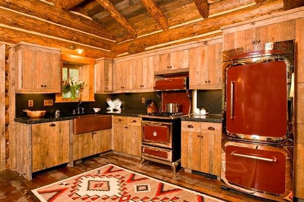 Rustic western red kitchen at the cabin make mine rustic for Kitchen design 7 x 7