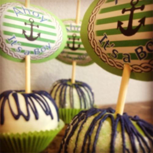 nautical baby shower candy apples lime green navy blue and white