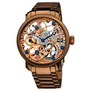 @Overstock - This Akribos XXIV men's mechanical skeleton watch comes in a brilliant rose gold color. This watch sports a stainless steel bracelet, 9211 mechanical skeleton movement, and is water resistant at 30 meters.http://www.overstock.com/Jewelry-Watches/Akribos-XXIV-Mens-Stainless-Mechanical-Skeleton-Bracelet-Watch/7456170/product.html?CID=214117 $161.99