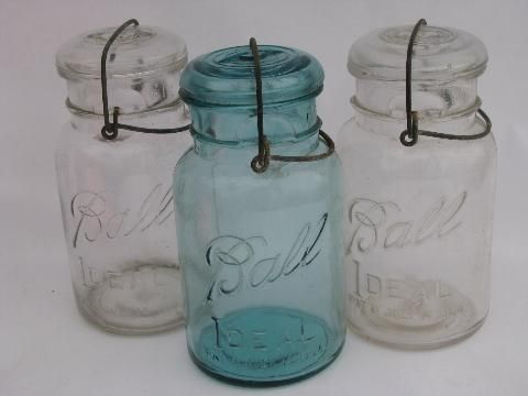 Mason Jars >> antique Ball Ideal mason canning jars lot, glass lightning ...