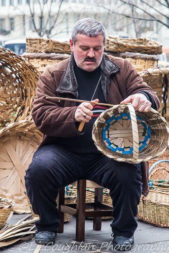 Basket weaver making baskets for sale, in Tahtakale, Istanbul