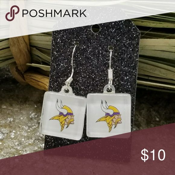 """Minnesota Vikings Earrings NFL Vikings Jewelry Minnesota Vikings Earrings NFL Vikings Jewelry Fashion Jewelry  Glass Square – 16mm or .63""""  Earwire is Silver Plated  Rubber Earnuts Included   Not water proof. Remove earrings when showering or swimming.   You will receive exactly what is pictured.   Note: Includes small pieces, so please keep out of the reach of children. Bad Cat Craft Jewelry Earrings"""