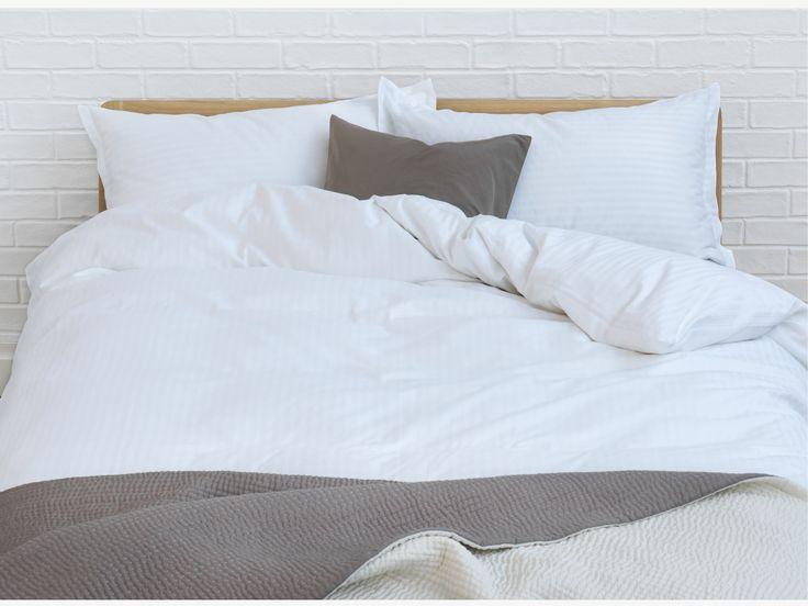 SATEEN STRIPE WHITE Cotton White egyptain cotton double duvet cover - HabitatUK