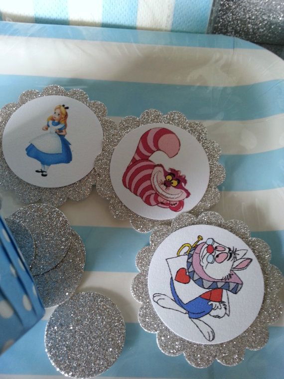 Alice In Wonderland Cupcake toppers by LoveITSoirees on Etsy