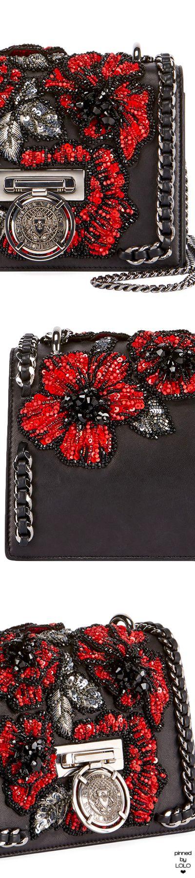 Balmain Leather Flower-Embellished Crossbody Bag