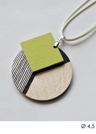 diy handmade necklace pendant geometric wood