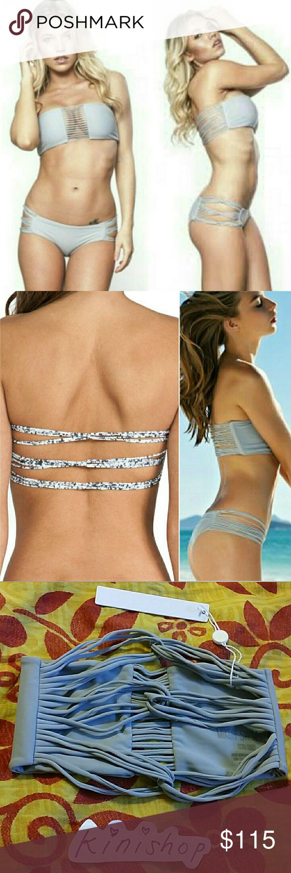 New mikoh sunset shark gray bandeau bikini top XS New with tag sunset strappy looped bandeau bikini top in shark (solid grey color) by mikoh swimwear. Extra small. Straps across front center. Looped strappy back. No trade please. The price is firm Mikoh Swim Bikinis