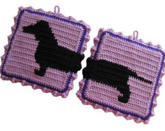 Crochet Dachshund Pot Holder | Dachshund Pot Holders. Lavender po tholders with black dachshund dog ...