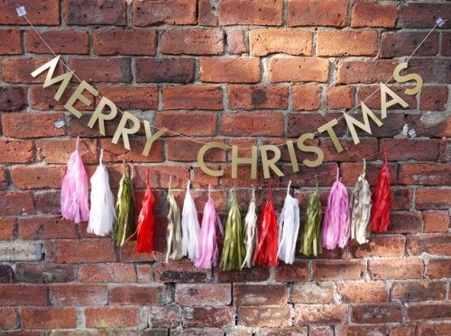 MERRY CHRISTMAS with AURELIA large tassels  Handmade Christmas party&home decor by Paper Street Dolls  paperstreetdolls.etsy.com