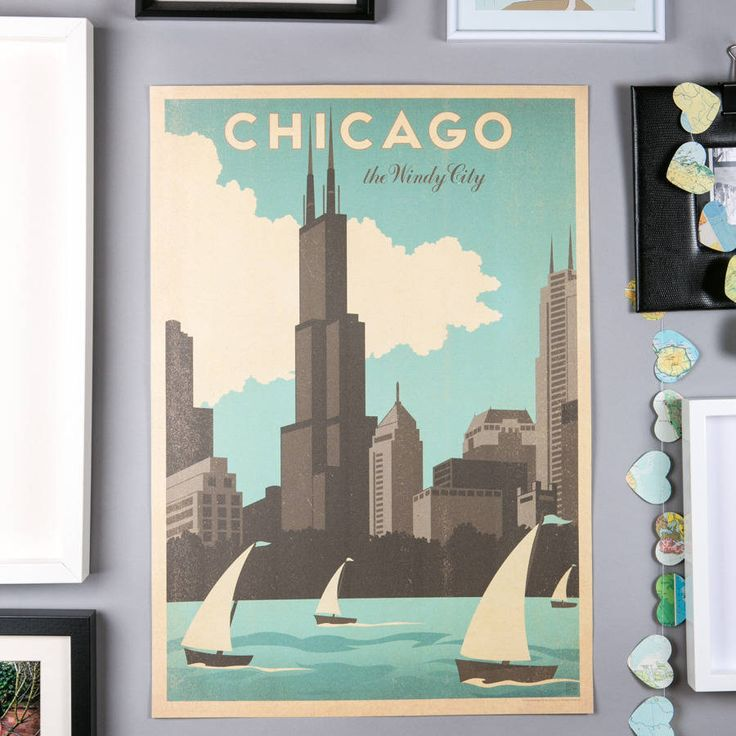 8 best images about travel posters on pinterest vintage for Vintage chicago posters