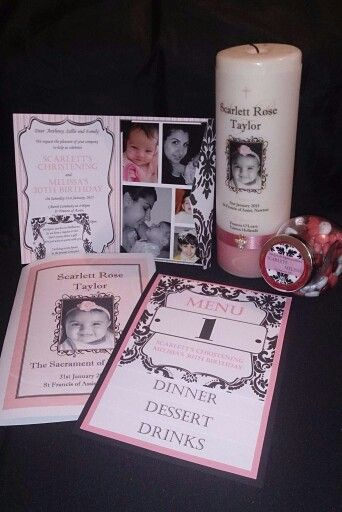 Pink and Black Damask Christening. Includes candle, inviation, bonbonierie, menu and church booklet.  Invitations, decorations and other stationary made to order by From Missy With Love www.frommissywithlove.com
