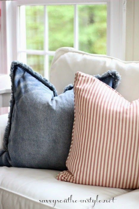 Savvy Southern Style: Spring In The Sun Room, H & M denim pillow cover, old Pottery Barn ticking pillow cover, casual style