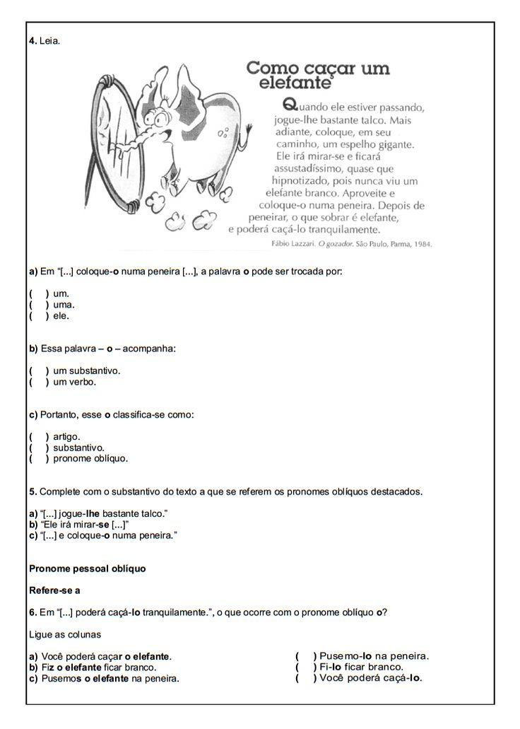 Exercicios sobre artigos definidos e indefinidos 6o ano