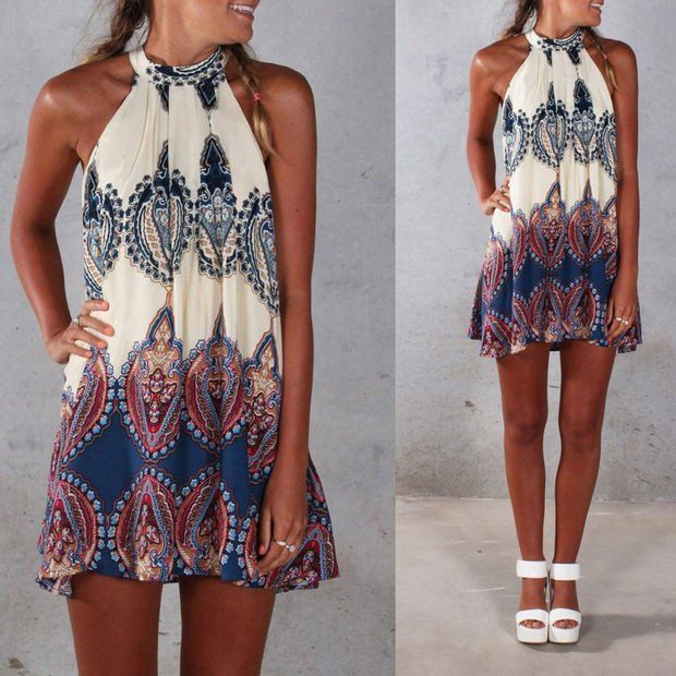 Halter neck Print Back Keyhole Sleeveless Loose Short Dress - Oh Yours Fashion