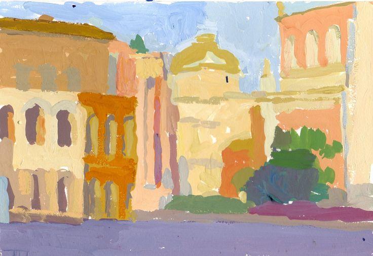 Roma 2 guache su carta 18x26 cm