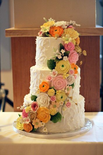 3 Tier Stucco Textured Buttercream Cake With Sugar Flower Cascade By A Life