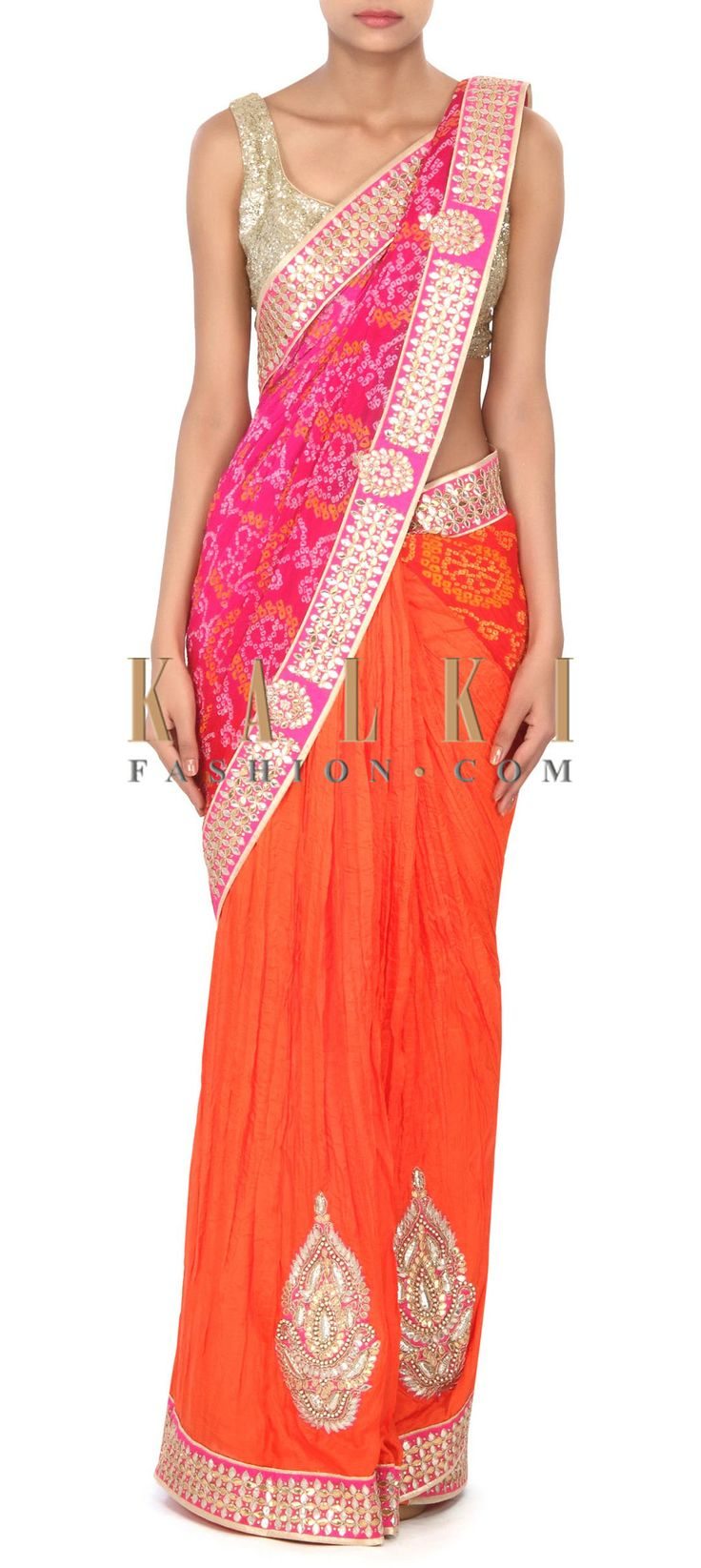 Buy this Half and half bandhani saree in gotta patch work only on Kalki
