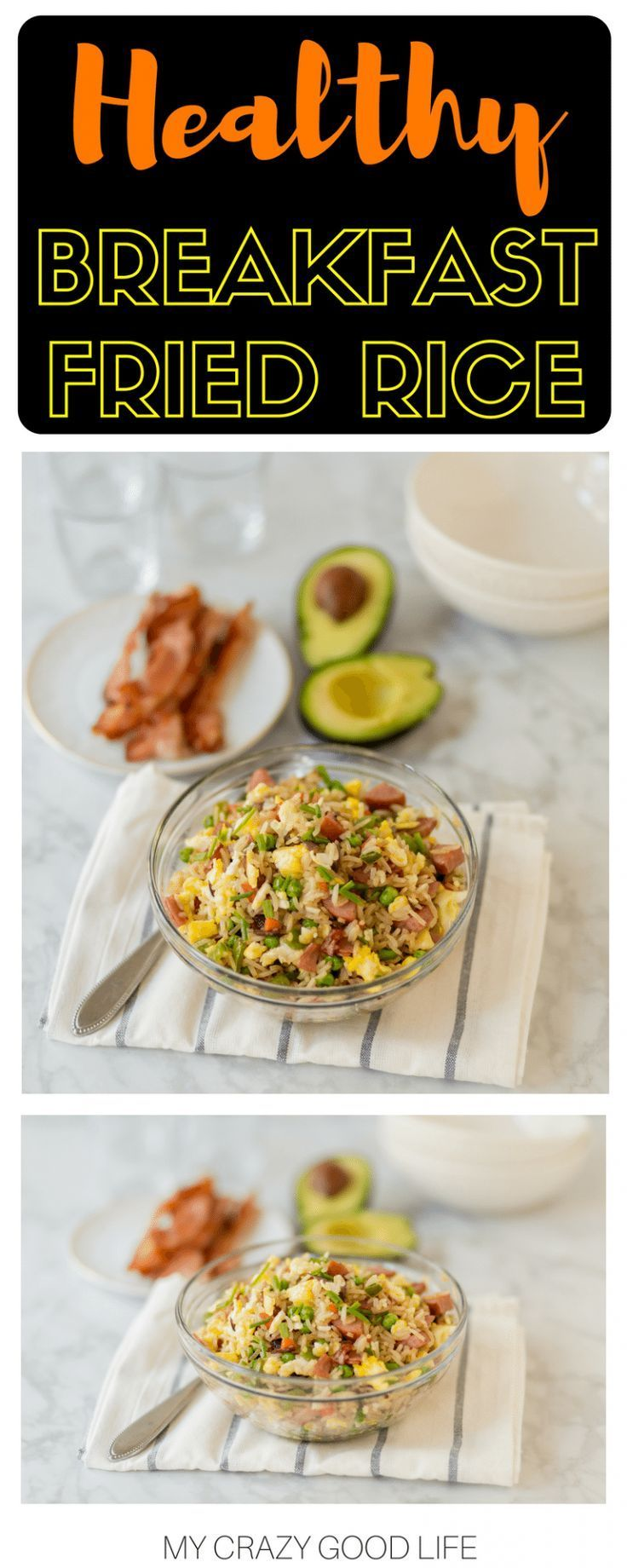 This 21 Day Fix Breakfast Fried Rice recipe is the perfect way to start your day! This bacon fried rice can be a filling breakfast or breakfast side dish! #beachbody #21dayfix #friedrice #breakfast