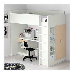 STUVA Loft bed combo w 1 drawer/2 doors, white, birch - 207x99x193 cm - IKEA