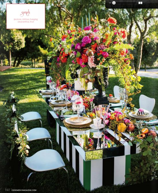 Floral designer, French Buckets designed this gorgeous tabletop display for the latest edition on Ceremony Magazine OC.  Las Vegas dining table with a painted base, white Miami dining chairs and covered the Paris tall back dining chairs for the head of the table. Credits: Christopher TODD Studios, Jay's Catering, Classic Party Rentals, Darla Marie Designs, Talega Golf Club