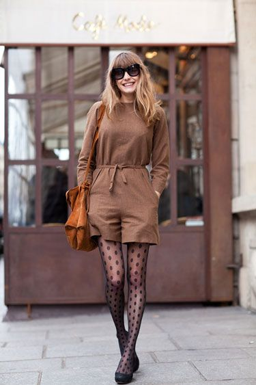 Street Style, Paris '12 - add quirky polka dot tights