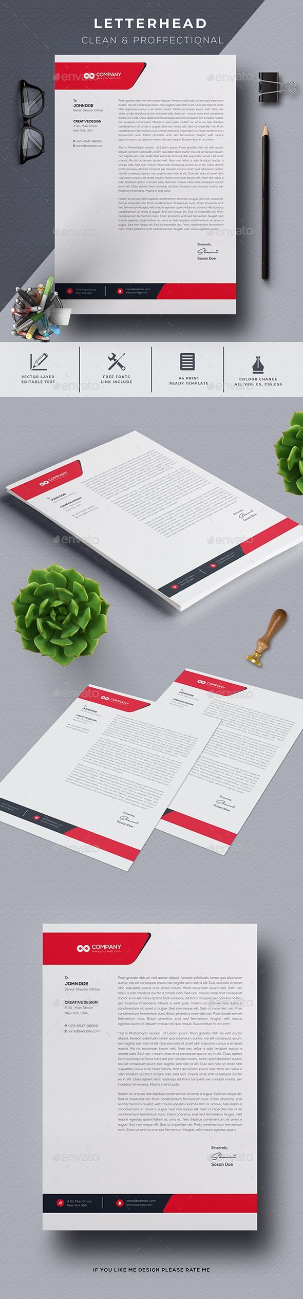 Letter Head Stationery Print Templates 1220
