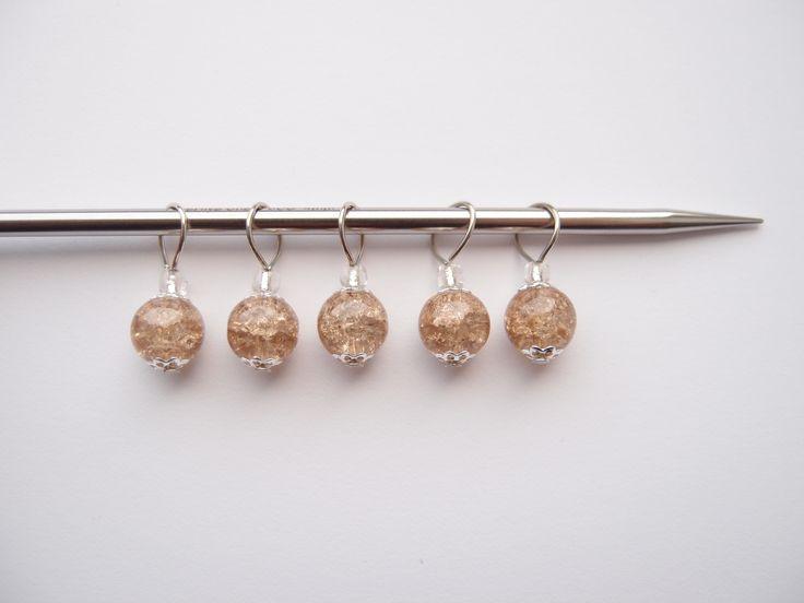 Anneaux marqueurs pour tricot et crochet - perles marron clair verre craquelé - Lot de 5 : Mercerie par les-envies-damelie